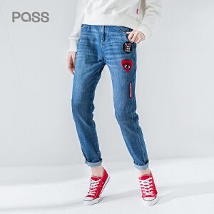 pass2017秋装新品牛仔裤女长裤心形章仔绣花宽松直筒裤潮韩版学生