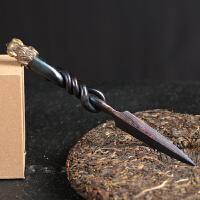 龙泉百炼花纹钢纯手工普洱茶锥大马士革专用茶针茶具配件茶刀套装