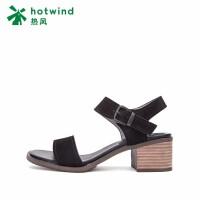 热风小清新粗跟女士凉鞋中跟纯色高跟鞋H57W87