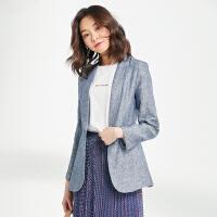 小西装外套女中长款韩版正装修身收腰休闲亚麻西服