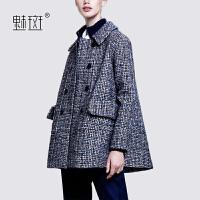 【新年狂欢到手价:300.8】魅斑大码宽松羊毛呢大衣2019冬季新款女装欧美时尚双排扣呢子外套
