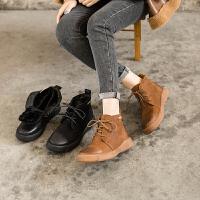 ��菲���D2020秋冬新款保暖女靴英���L平底真皮短靴加�q百搭�R丁靴009-20ML