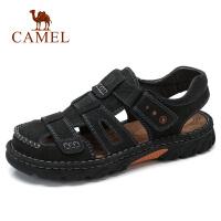 camel 骆驼男鞋新款夏季凉鞋男休闲鞋包头沙滩户外凉鞋缝线鞋