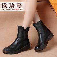 欧琦蔓2018秋冬新款原创复古真皮短靴女手工加绒中低跟女靴42177