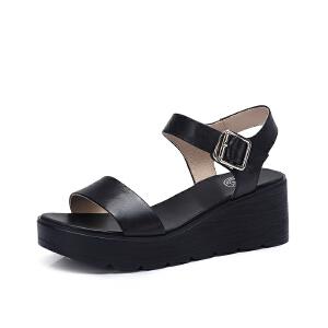骆驼女鞋 2018夏季新款 真皮舒适休闲坡跟扣带百搭韩版坡跟凉鞋女
