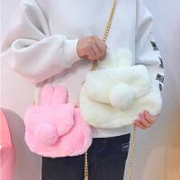 日系可爱纯色毛绒兔子尾巴斜挎包软妹链条单肩斜挎包卡通手机包女