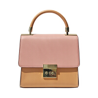 手提包包女新休闲斜挎包女小方包撞色女包欧美包单肩包 粉色盖头