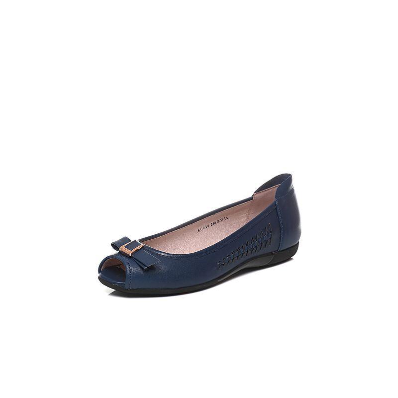 Bata/拔佳春季专柜同款编织蝴蝶结羊皮鱼嘴女凉鞋AC616AU7