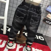 韩版冬新款男童韩味百搭加厚加绒黑色牛仔裤修身小脚裤A-T