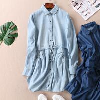 柔软薄款褶皱口袋春新品系带显瘦中长款牛仔衬衫女长袖衬衫裙B800