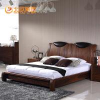 北欧篱笆全实木床1.8米双人床纯北美黑胡桃木床 简约现代婚床