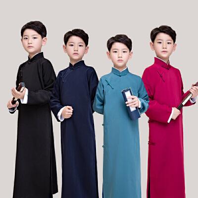 新款儿童相声服民国长衫长袍大褂男童古装民国学生装快板演出服装