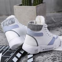 高帮鞋子女2018新款百搭小白鞋女冬季韩版学生加绒厚底保暖棉鞋冬 白蓝 加绒