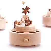 ?音乐盒八音盒木质送女生女孩儿童生日情人节礼物小熊旋转