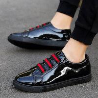 夏季男鞋韩版男士皮面板鞋全黑色潮鞋学生社会小伙懒人豆豆皮鞋子