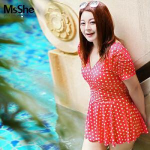MsShe藏肉加大码女装2017新款夏季胖妹妹连体式泳衣波点深V12649