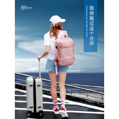 2019新款轻便大容量多功能大学生女士双肩包女旅行背包女旅游书包 独立鞋位+干湿分离+大容量设计