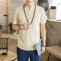 百搭纯色短袖T恤男士宽松亚麻体恤中国风衣服衬衫领半袖t 卡其色 CS7072