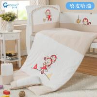 婴儿床围床品九件套可拆洗宝宝床帏婴儿床上用品套件a366
