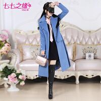冬装新款女装 蓝色中长款矮个子韩版毛呢大衣外套