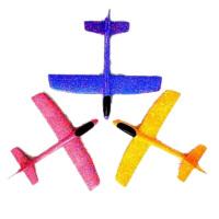 泡沫飞机手抛飞机投掷滑翔回旋特技飞机航模耐摔儿童户外子玩具 大号粉色50cm左右 直飞+回旋特技