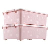 床底收纳箱塑料衣服床下整理箱扁平抽屉式大号储物箱箱子 超值2个装(标准款60*40*20cm)/(加高款