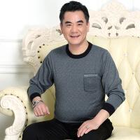中年男士长袖T恤中老年人春装衣服40岁50纯棉老人爸爸装秋60