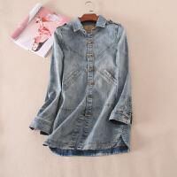 欧美女装磨白做旧秋季女式中长款牛仔外套开叉风衣WC3321
