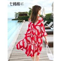 七格格连衣裙春装2019新款女韩版气质红色碎花雪纺度假沙滩短裙子