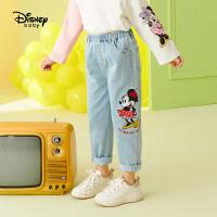 【春新品4折�A估�r:90.1元】迪士尼女童牛仔�2021春�b新款洋��和������r尚卡通米妮童�b�子