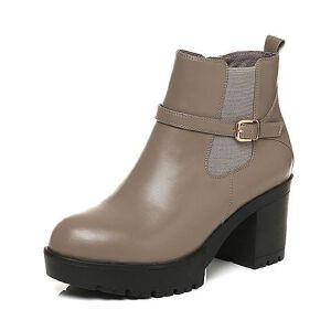 Belle/百丽2017冬厚底时尚牛皮女短靴65225DD7