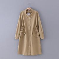 G347 女装 春季新款2018 松紧腰修身纯色长袖外套女休闲风衣