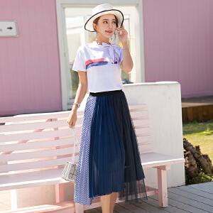风轩衣度 2018年夏季套装/套裙中长款气质百搭甜美舒适优雅韩版短袖 2505-862