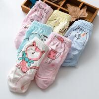 女宝宝内裤1-2-3-4-5-7岁纯棉男女童小孩幼童婴幼儿三角面包短裤 粉红色 女孩4条图案随机