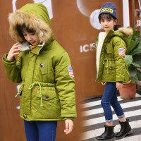 儿童女童冬装棉衣外套2018新款中大童棉袄加厚男童洋气羊羔绒 绿色