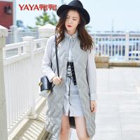 鸭鸭(YAYA)2018秋冬新款时尚个性印花女装长款羽绒马甲羽绒服女B-57656