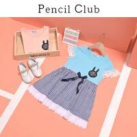 【2件3折价:29.7元】铅笔俱乐部童装2021夏装新女童连衣裙中大童条纹拼接裙儿童休闲裙