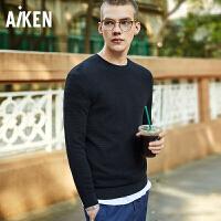Aiken爱肯2018春装毛衣男士韩版潮针织衫学生长袖圆领打底衫黑色