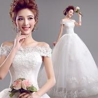 优雅韩式蕾丝一字肩修身齐地新娘婚纱礼服
