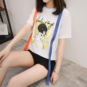 2018夏季新款人物印花肩带短袖Tt恤女时尚潮流纯棉韩版宽松薄款爆