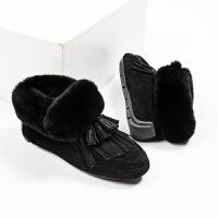 网红鞋女豆豆豆豆鞋女加绒加厚冬季2018新款网红鞋外穿圆头雪地靴棉鞋 TBP