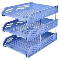 齐心文件架B2060多功能三层文件盘 资料框 办公文具桌面收纳