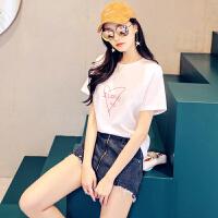 【2件25折46元叠加30券】韩都衣舍2019夏装新款女装韩版宽松字母印花短袖上衣T恤KY9601钕