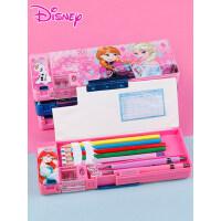迪士尼男小学生多功能铅笔盒儿童塑料铅笔盒女冰雪爱莎白雪公主米奇米妮笔袋幼儿园1-3年级创意文具盒可爱