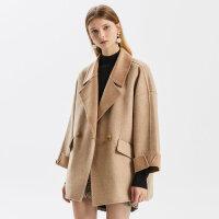 【1件3折�r:357,可�B券】羊毛MECITY女�b2019冬季新款短款���手工�p面呢大衣