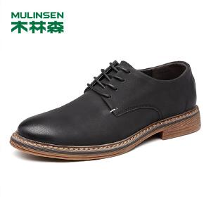 木林森男鞋 秋冬新款时尚休闲鞋 简约英伦风系带男士休闲单鞋77053335