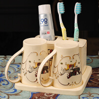 浴室杯子简约套装陶瓷情侣漱口杯欧式刷牙杯陶瓷洗漱杯套装牙刷杯子浴室简约带手柄