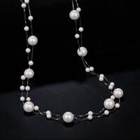 韩款多层925银母贝珍珠毛衣链女长款百搭气质珍珠项链配饰送女友爱人生日礼物