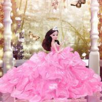 ?2018新款六一芭比婚纱公主大拖尾洋娃娃套装礼盒儿童女孩过家家?