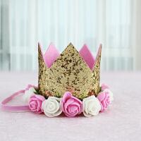 生日帽子儿童宝宝周岁花朵亮片皇冠派对装扮用品布置拍照道具